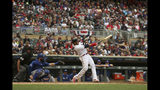 Minnesota Twins' Nelson Cruz hits his 400th career home run in the fourth inning of a baseball game against the Kansas City Royals, Sunday, Sept. 22, 2019, in Minneapolis. (AP Photo/Stacy Bengs)