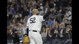 New York Yankees starting pitcher CC Sabathia gestures to fans as he leaves during the third inning of the team's baseball game against the Los Angeles Angels on Wednesday, Sept. 18, 2019, in New York. (AP Photo/Frank Franklin II)