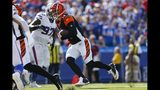 Cincinnati Bengals quarterback Andy Dalton (14) rushes for a touchdown during the second half of an NFL football game against the Buffalo Bills Sunday, Sept. 22, 2019, in Orchard Park, N.Y. (AP Photo/John Munson)