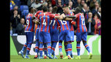 Crystal Palace's Joel Ward celebrates scoring his side's first goal of the game with his team during their English Premier League match against Wolverhampton Wanderers at Selhurst Park, London, Sunday, Sept. 22, 2019. (Daniel Hambury/PA via AP)