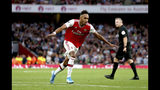 Arsenal's Pierre-Emerick Aubameyang celebrates scoring against Aston Villa during the English Premier League soccer match at the Emirates Stadium, London, Sunday Sept. 22, 2019. (Steven Paston/PA via AP)