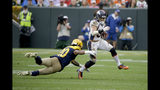 Denver Broncos running back Phillip Lindsay, right, runs with the ball as Green Bay Packers cornerback Kevin King (20) defends during the second half of an NFL football game Sunday, Sept. 22, 2019, in Green Bay, Wis. (AP Photo/Mike Roemer)