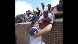 California quarterback Chase Garbers (7) celebrates with fans following a win over Mississippi at Vaught-Hemingway Stadium in Oxford, Miss. on Saturday, September 21, 2019. California won 28-20. (Bruce Newman, Oxford Eagle via AP)