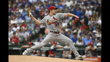 St. Louis Cardinals starter Miles Mikolas delivers a pitch during the first inning of a baseball game against the Chicago Cubs, Sunday, Sept. 22, 2019, in Chicago. (AP Photo/Paul Beaty)