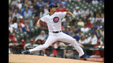 Chicago Cubs starter Yu Darvish delivers a pitch during the first inning of a baseball game against the St. Louis Cardinals, Sunday, Sept. 22, 2019, in Chicago. (AP Photo/Paul Beaty)