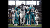 Dallas Cowboys running back Ezekiel Elliott (21) celebrates his run for a first down in the second half of an NFL football game against the Miami Dolphins in Arlington, Texas, Sunday, Sept. 22, 2019. (AP Photo/Ron Jenkins)