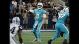 Miami Dolphins quarterback Josh Rosen (3) throws a pass in the second half of an NFL football game against the Dallas Cowboys in Arlington, Texas, Sunday, Sept. 22, 2019. (AP Photo/Michael Ainsworth)