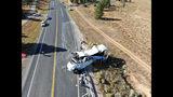 La imagen proporcionada por la Policía de Caminos de Utah muestra a un autobús turístico accidentado cerca del Parque Nacional Bryce Canyon en Utah, el viernes 20 de septiembre de 2019. (Policía de Caminos de Utah vía AP)