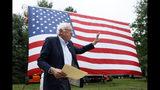 Democratic presidential candidate Sen. Bernie Sanders walks on stage to speak at the Polk County Democrats Steak Fry, Saturday, Sept. 21, 2019, in Des Moines, Iowa. (AP Photo/Charlie Neibergall)
