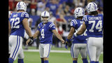 Indianapolis Colts kicker Adam Vinatieri (4) is congratulated after kicking a field goal during the first half of an NFL football game against the Atlanta Falcons, Sunday, Sept. 22, 2019, in Indianapolis. (AP Photo/Darron Cummings)