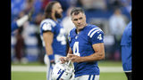 Indianapolis Colts kicker Adam Vinatieri (4) warms up for an NFL football game against the Atlanta Falcons, Sunday, Sept. 22, 2019, in Indianapolis. (AP Photo/AJ Mast)