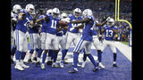 Indianapolis Colts wide receiver Zach Pascal (14) celebrates after making a touchdown reception during the first half of an NFL football game against the Atlanta Falcons, Sunday, Sept. 22, 2019, in Indianapolis. (AP Photo/Michael Conroy)