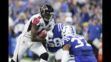 Atlanta Falcons wide receiver Julio Jones (11) is tackled by Indianapolis Colts safety Khari Willis (37) during the first half of an NFL football game, Sunday, Sept. 22, 2019, in Indianapolis. (AP Photo/Michael Conroy)