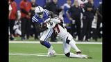 Indianapolis Colts wide receiver Parris Campbell (15) breaks out of a tackle from Atlanta Falcons strong safety Damontae Kazee (27) during the first half of an NFL football game, Sunday, Sept. 22, 2019, in Indianapolis. (AP Photo/Darron Cummings)