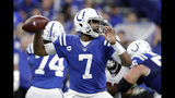 Indianapolis Colts quarterback Jacoby Brissett (7) throws during the first half of an NFL football game against the Atlanta Falcons, Sunday, Sept. 22, 2019, in Indianapolis. (AP Photo/Michael Conroy)