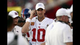 New York Giants quarterback Eli Manning on the bench against the Tampa Bay Buccaneers during the second half of an NFL football game Sunday, Sept. 22, 2019, in Tampa, Fla. (AP Photo/Jason Behnken)