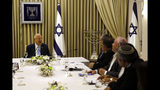 Israeli President Reuven Rivlin speaks during a consultation meeting with members of the Likud party, in Jerusalem, Sunday, Sept. 22, 2019. Rivlin began two days of crucial talks Sunday with party leaders before selecting his candidate for prime minister, after a deadlocked repeat election was set to make forming any new government a daunting task. (Menahem Kahana/Pool via AP)