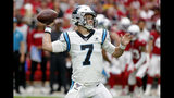 Carolina Panthers quarterback Kyle Allen (7) throws against the Arizona Cardinals during the first half of an NFL football game, Sunday, Sept. 22, 2019, in Glendale, Ariz. (AP Photo/Rick Scuteri)