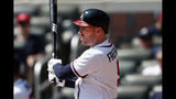 Atlanta Braves first baseman Freddie Freeman (5) drives in two runs with a base hit in the fifth inning of a baseball game against the Philadelphia Phillies Thursday, Sept. 19, 2019, in Atlanta. (AP Photo/John Bazemore)
