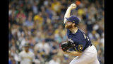 Milwaukee Brewers' Brandon Woodruff pitches during the first inning of a baseball game against the Pittsburgh Pirates, Sunday, Sept. 22, 2019, in Milwaukee. (AP Photo/Aaron Gash)