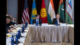 U.S. Secretary of State Mike Pompeo, right, meets with Central Asian (C5) foreign ministers from Kazakhstan, Uzbekistan, Tajikistan, Kyrgyzstan, and Turkmenistan, Sunday, Sept. 22, 2019, in New York. . (AP Photo/Craig Ruttle)
