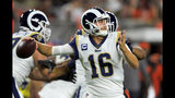 Los Angeles Rams quarterback Jared Goff throws during the first half of an NFL football game against the Cleveland Browns, Sunday, Sept. 22, 2019, in Cleveland. (AP Photo/David Richard)