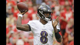 Baltimore Ravens quarterback Lamar Jackson (8) throws a pass during the first half of an NFL football game against the Kansas City Chiefs in Kansas City, Mo., Sunday, Sept. 22, 2019. (AP Photo/Charlie Riedel)