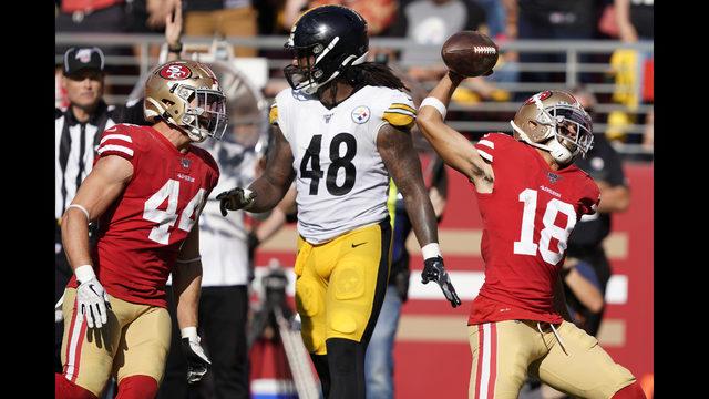 buy popular aa5e2 7e1e7 Sloppy 49ers beat Steelers 24-20 on late Garoppolo TD pass ...