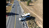 This photo provided by the Utah Highway Patrol shows a tour bus carrying Chinese-speaking tourists after it crashed near Bryce Canyon National Park in southern Utah, killing at least four people and critically injuring multiple others, Friday, Sept. 20, 2019. (Utah Highway Patrol via AP)