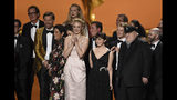 """The cast and crew of """"Game Of Thrones"""" accepts the award for outstanding drama series at the 71st Primetime Emmy Awards on Sunday, Sept. 22, 2019, at the Microsoft Theater in Los Angeles. (Photo by Chris Pizzello/Invision/AP)"""