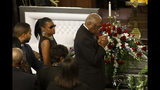 Majority Whip Jim Clyburn, right, grieves for his wife, with his daughter Angela Clyburn Hannibal, during the homegoing services for Emily Clyburn Monday, Sept. 23, 2019, in Charleston, S.C. (AP Photo/Mic Smith)