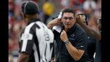 Carolina Panthers head coach Ron Rivera yells during the first half of an NFL football game agains the Arizona Cardinals, Sunday, Sept. 22, 2019, in Glendale, Ariz. (AP Photo/Rick Scuteri)