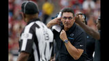 Carolina Panthers head coach Ron Rivera yells during the first half of an NFL football game agains the Arizona Cardinals, Sunday, Sept. 22, 2019, in Glendale, Ariz. (AP Photo/Rick Scuteri)