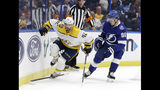 Nashville Predators center Colin Blackwell (42) steps over Tampa Bay Lightning defenseman Mikhail Sergachev's stick as they chase the puck during the first period of an NHL preseason hockey game Friday, Sept. 20, 2019, in Tampa, Fla. (AP Photo/Chris O'Meara)