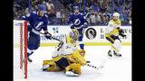Nashville Predators goaltender Juuse Saros (74) makes a save on a shot as Tampa Bay Lightning left wing Ondrej Palat (18) looks for a rebound during the second period of an NHL preseason hockey game Friday, Sept. 20, 2019, in Tampa, Fla. (AP Photo/Chris O'Meara)