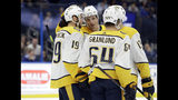 Nashville Predators center Calle Jarnkrok (19) celebrates his goal against the Tampa Bay Lightning with center Kyle Turris (8), center Nick Bonino (13), and center Mikael Granlund (64) during the first period of an NHL preseason hockey game Friday, Sept. 20, 2019, in Tampa, Fla. (AP Photo/Chris O'Meara)
