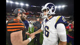 Cleveland Browns quarterback Baker Mayfield (6) greets Los Angeles Rams quarterback Jared Goff (16) after an NFL football game, Sunday, Sept. 22, 2019, in Cleveland. The Rams won 20-13. (AP Photo/David Dermer)