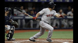 Boston Red Sox's Marco Hernandez follows through on an RBI-double off Tampa Bay Rays starting pitcher Blake Snell during the second inning of a baseball game Monday, Sept. 23, 2019, in St. Petersburg, Fla. Boston's Jackie Bradley Jr. scored on the hit. (AP Photo/Chris O'Meara)