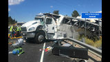 This photo released by the Garfield County Sheriff's Office shows a tour bus that was carrying Chinese-speaking tourists after it crashed near Bryce Canyon National Park in southern Utah, killing at least four people and critically injuring up to 15 others, Friday, Sept. 20, 2019. (Sheriff Danny Perkins/Garfield County Sheriff's Office via AP)