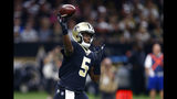 New Orleans Saints quarterback Teddy Bridgewater (5) passes in the first half of an NFL football game against the Tampa Bay Buccaneers in New Orleans, Sunday, Oct. 6, 2019. (AP Photo/Butch Dill)