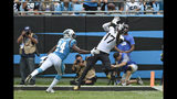 Carolina Panthers cornerback James Bradberry (24) defends while Jacksonville Jaguars wide receiver D.J. Chark (17) catches a pass during the second half of an NFL football game in Charlotte, N.C., Sunday, Oct. 6, 2019. (AP Photo/Mike McCarn)