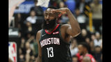 Houston Rockets' James Harden celebrates his three-point basket during the first half of an NBA preseason basketball game against the Toronto Raptors Tuesday, Oct. 8, 2019, in Saitama, near Tokyo. (AP Photo/Jae C. Hong)