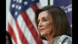 Speaker of the House Nancy Pelosi, D-Calif., listens during a talk about lowering the cost of prescription drug prices Tuesday, Oct. 8, 2019, at Harborview Medical Center in Seattle. (AP Photo/Elaine Thompson)