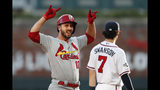 St. Louis Cardinals' Paul DeJong celebrates after hitting a double to score a run in the second inning of Game 5 of their National League Division Series baseball game against the Atlanta Braves, Wednesday, Oct. 9, 2019, in Atlanta. (AP Photo/John Bazemore)