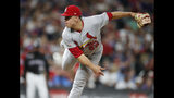Ryan Helsley, lanzador de los Cardenales de San Luis, labora en el juego del martes 10 de septiembre de 2019, ante los Rockies de Colorado (AP Foto/David Zalubowski)
