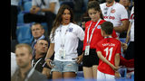 FILE - In this Monday, June 18, 2018 file photo, Rebekah Vardy, wife of England's forward Jamie Vardy, reacts their match against Tunisia at the 2018 soccer World Cup in the Volgograd Arena in Volgograd, Russia. The wives of two of English soccer's most high-profile players have on Wednesday, Oct. 9, 2019 become embroiled in a spat on Twitter about the leaking of information to a tabloid newspaper. Wayne Rooney's wife accused Jamie Vardy's wife of informing The Sun about details of her private Instagram stories. (AP Photo/Frank Augstein, file)