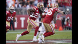 San Francisco 49ers cornerback Richard Sherman (25) returns an interception against the Cleveland Browns during the first half of an NFL football game in Santa Clara, Calif., Monday, Oct. 7, 2019. (AP Photo/Tony Avelar)
