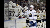 Buffalo Sabres left wing Victor Olofsson (68) celebrates after scoring a goal during the first period of an NHL hockey game against the New Jersey Devils, Saturday, Oct. 5, 2019, in Buffalo, N.Y. (AP Photo/Bryan Bennett)