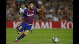 El delantero argentino Lionel Messi del Barcelona durante el partido contra el Sevilla por la Liga de España, el domingo 6 de octubre de 2019. (AP Foto/Joan Monfort)