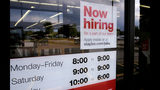 "FILE - In this Aug. 15, 2019, file photo a ""Now hiring"" sign is displayed on the front door of a Staples store in Manchester, N.H. On Wednesday, Oct. 9, the Labor Department reports on job openings and labor turnover for August. (AP Photo/Charles Krupa, File)"